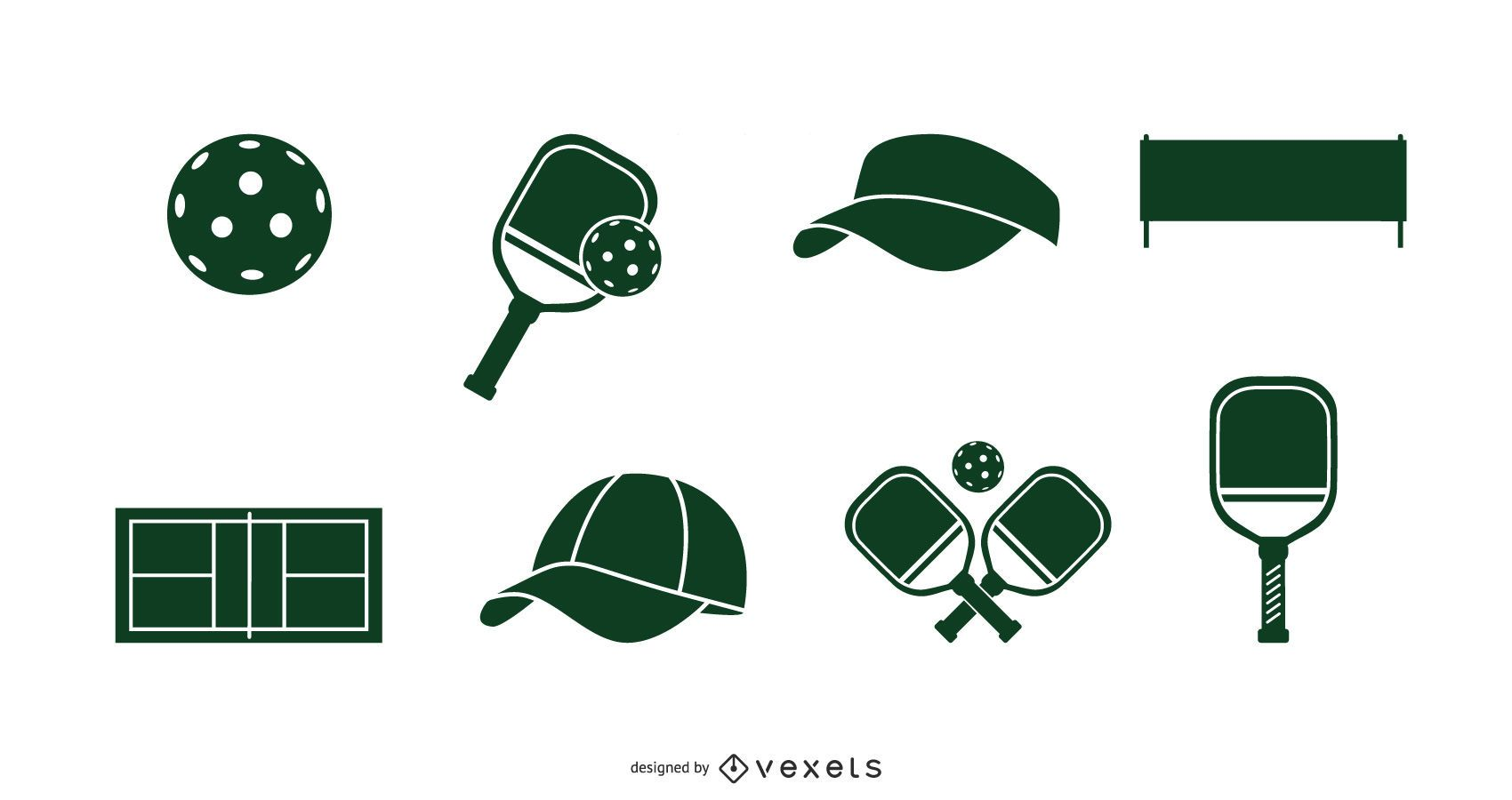 Pickleball Silhouette Elements Pack