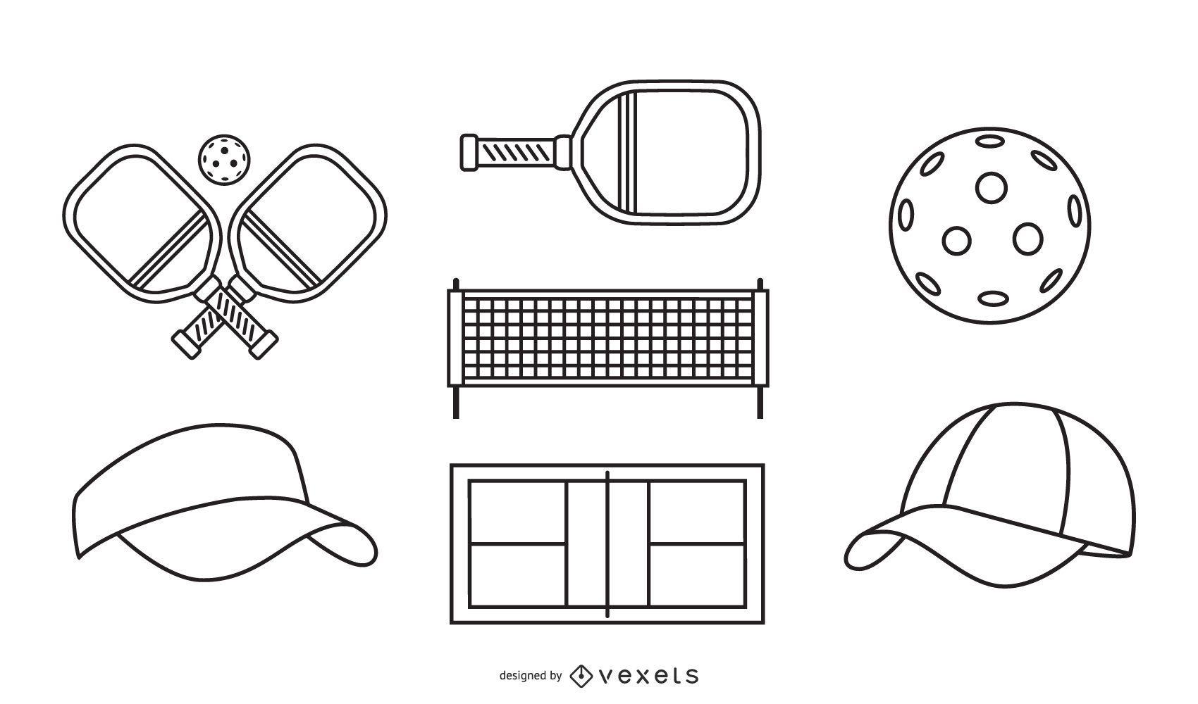 Conjunto de elementos de trazo de pickleball