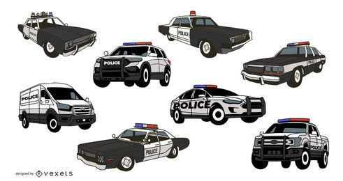 Pacote de ilustração de carro de polícia