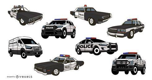 Pacote de ilustração de carros de polícia