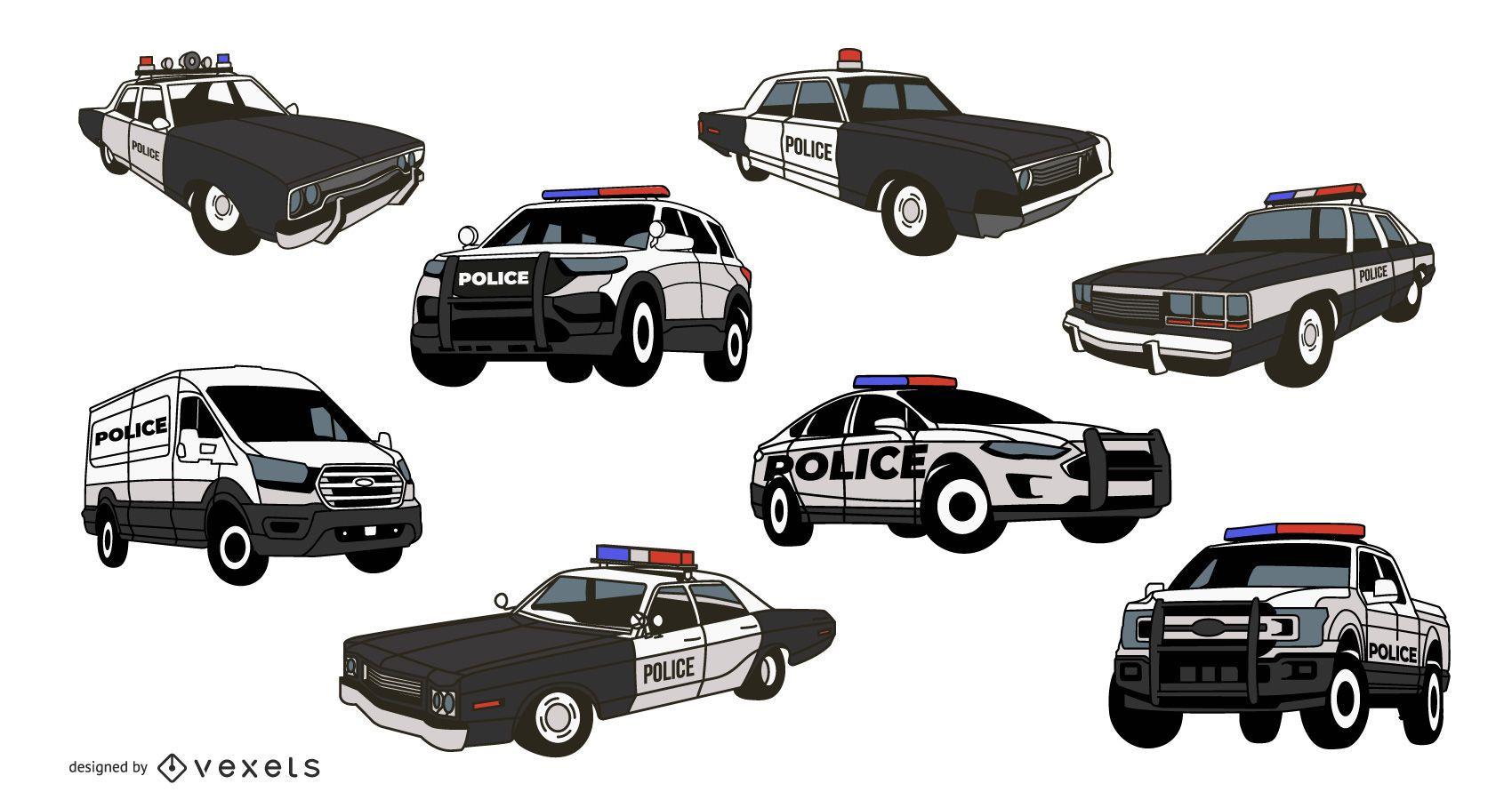 Paquete de ilustración de coche de policía
