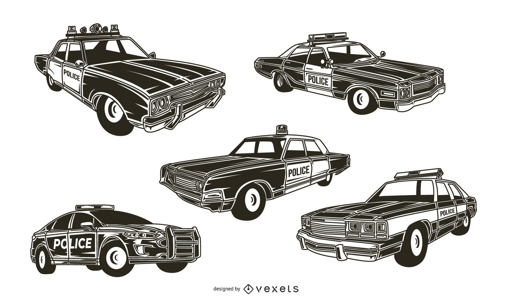 Police Car Silhouette Pack
