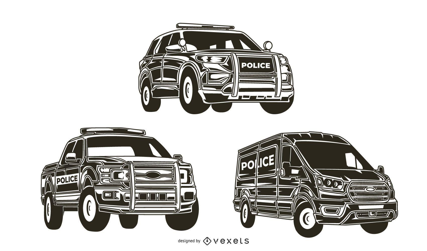 Paquete de silueta de camión de coche de policía
