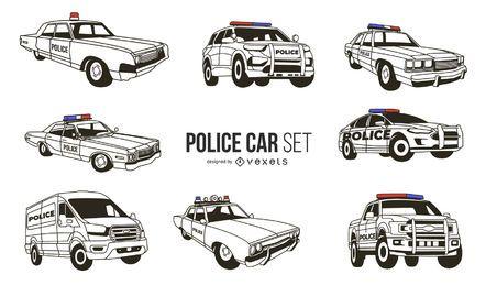 Weißes Polizeiauto-Designpaket