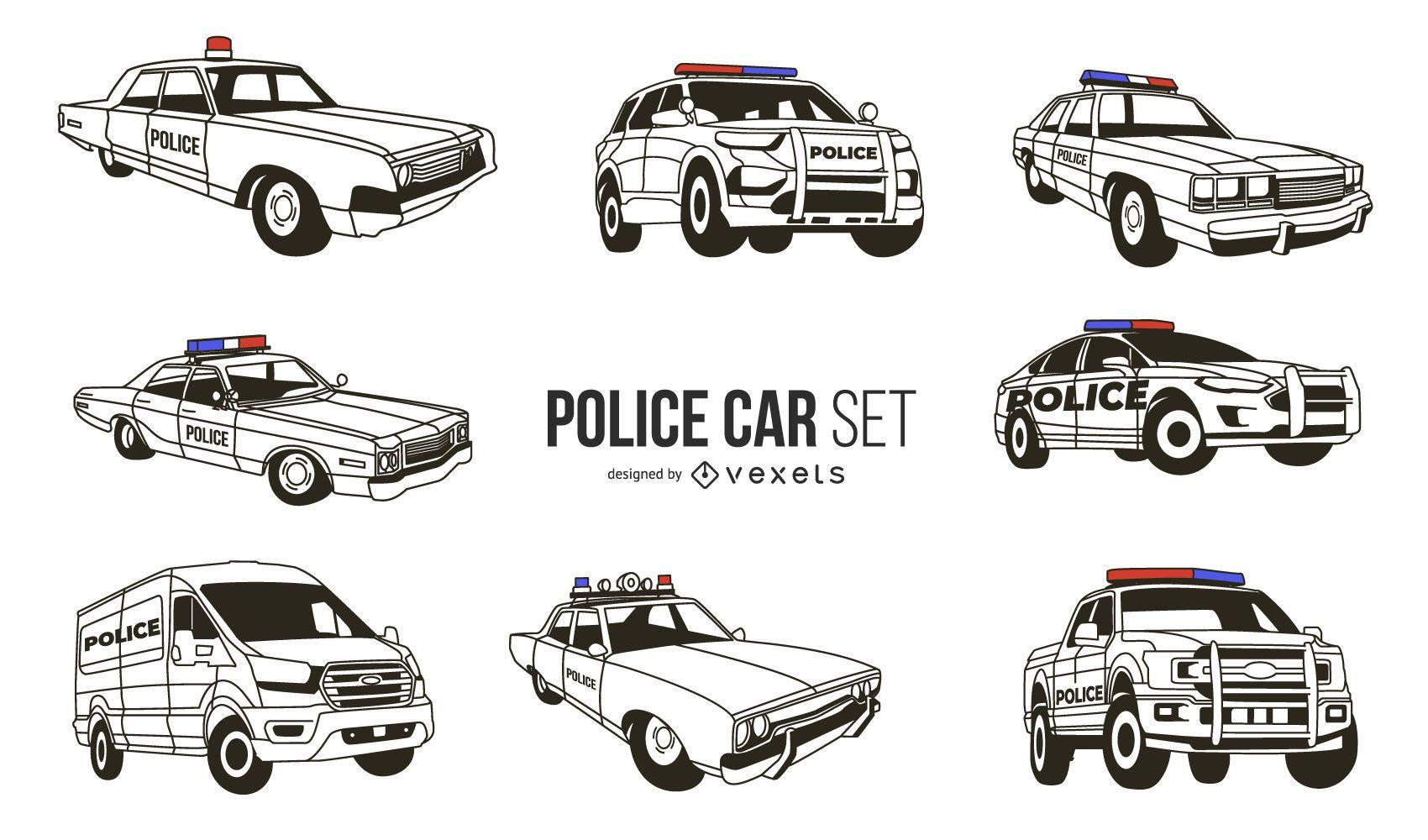 Paquete de diseño de coche de policía blanco