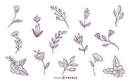 Pacote de traços de elementos florais da primavera