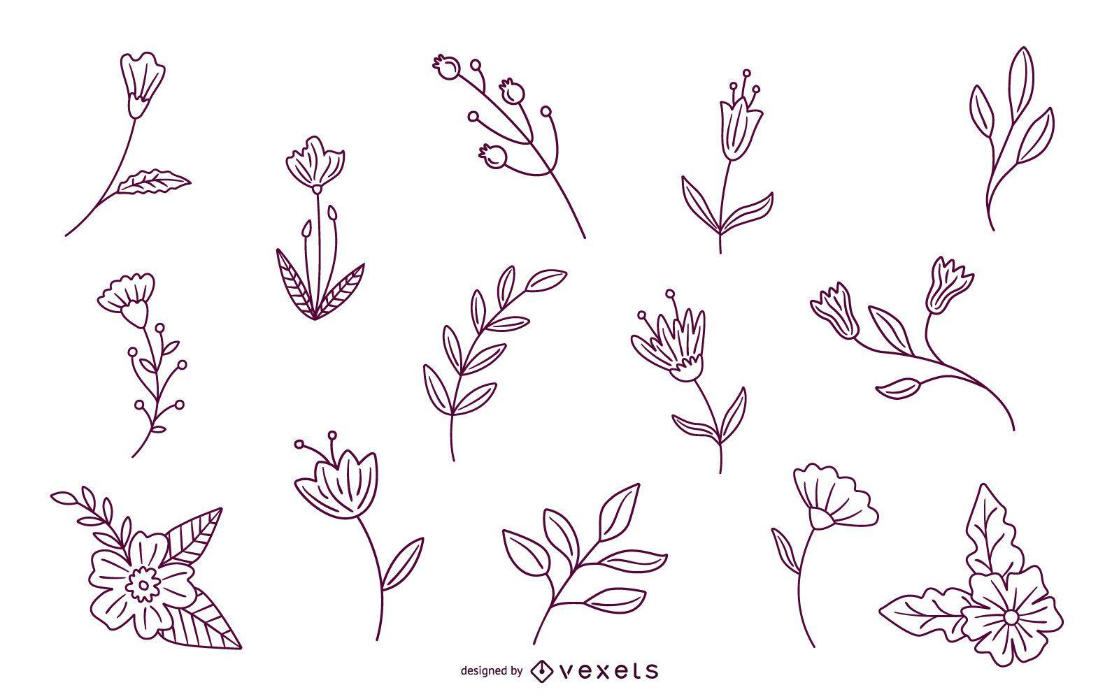 Paquete de trazos de elementos florales de primavera