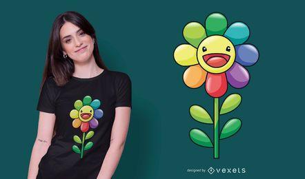 Desenho de camiseta com girassol feliz