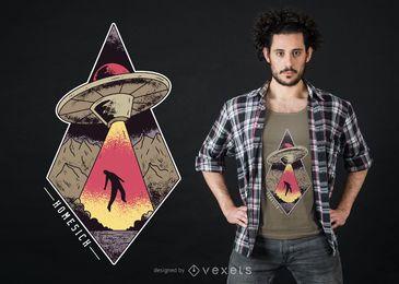 Design de t-shirt ufo com saudades de casa