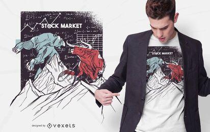 Design de t-shirt do urso Bull do mercado de ações