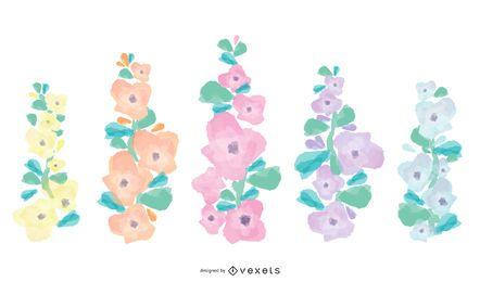 Conjunto de flores Holllyhock