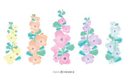 Holllyhock flowers set