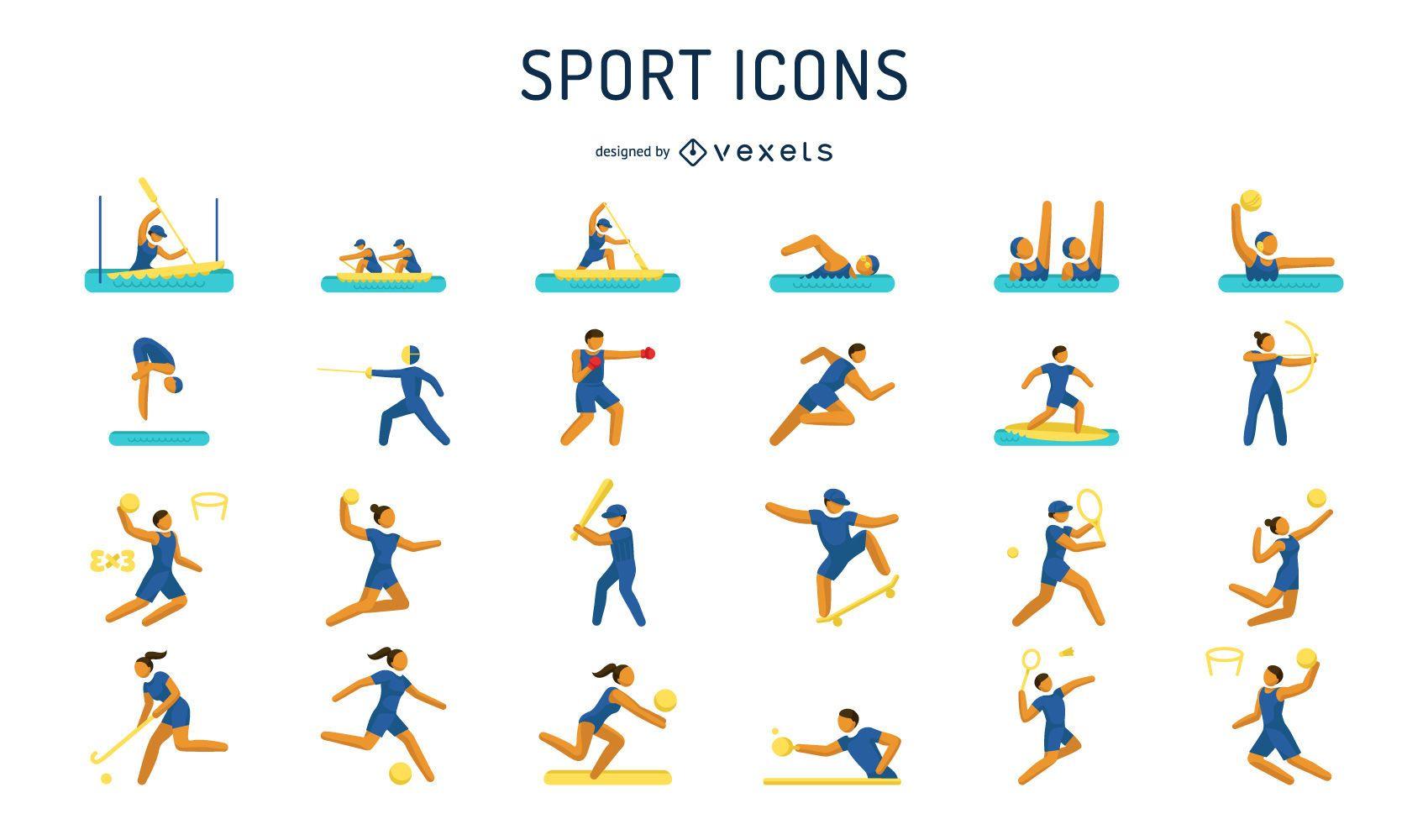 Pacote de ícones de pictograma de jogos Olypmic