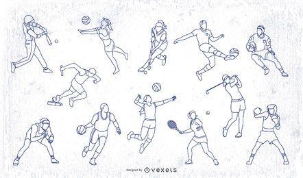 Pacote de pessoas de traçado esportivo olímpico