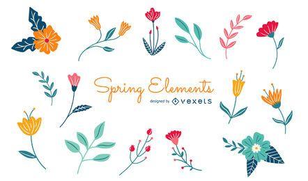 Pacote de elementos florais da primavera