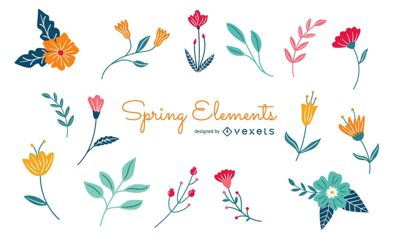 Paquete de elementos florales de primavera