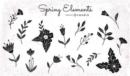 Pacote de silhueta de elementos florais