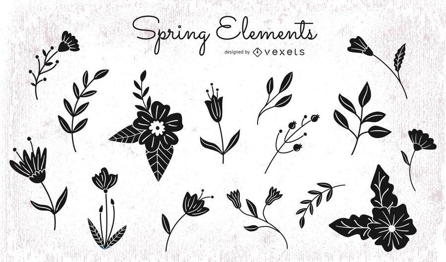 Pack de silueta de elementos florales