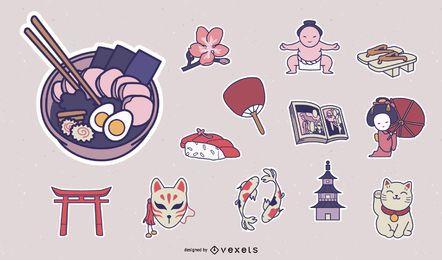 Pacote de adesivos de elementos da cultura japonesa