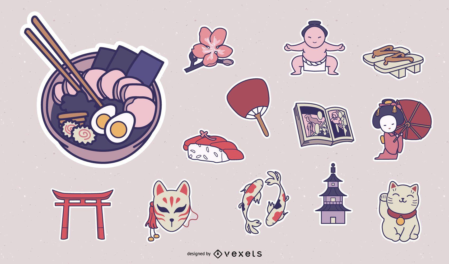 Paquete de pegatinas de elementos de la cultura japonesa