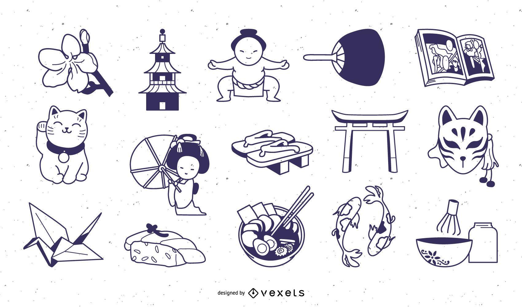Paquete de diseño de trazos de elementos japoneses