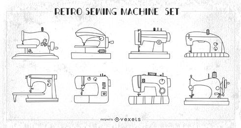Retro sewing machines set