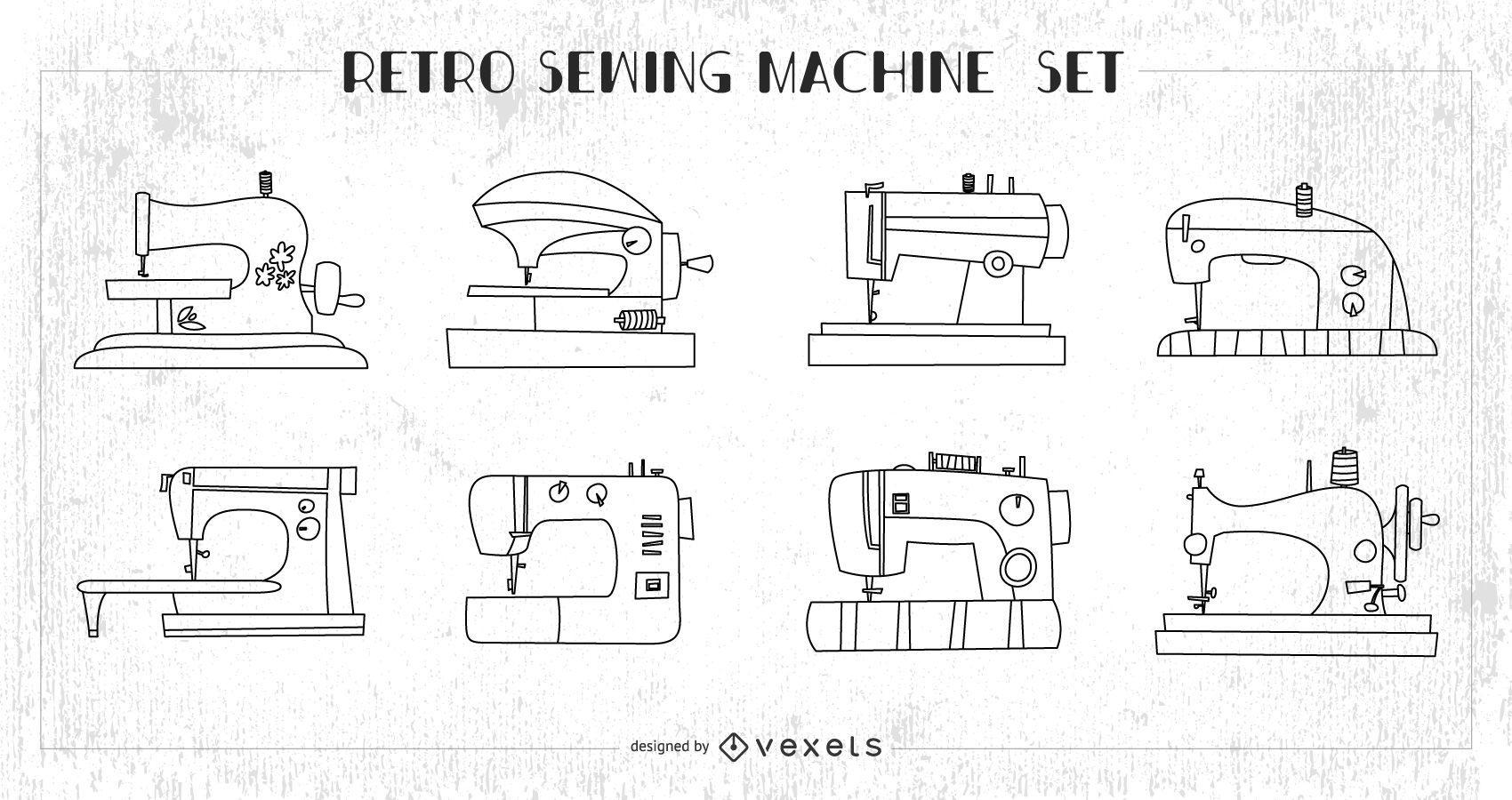Conjunto de máquinas de costura retrô