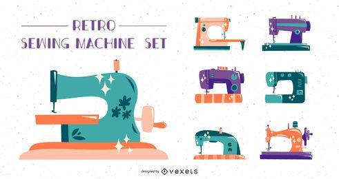 Conjunto plano de máquina de coser retro
