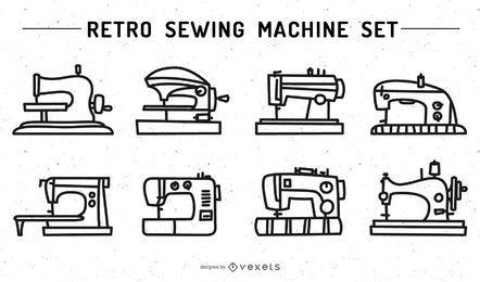 Juego de trazos de máquina de coser retro