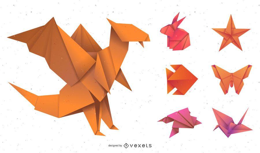 Pacote de animais de origami gradiente