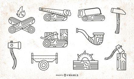 Paquete de iconos de trazo de leñador
