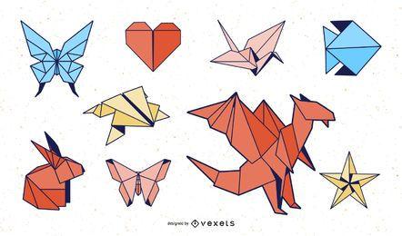 Pacote de design colorido de animais de origami