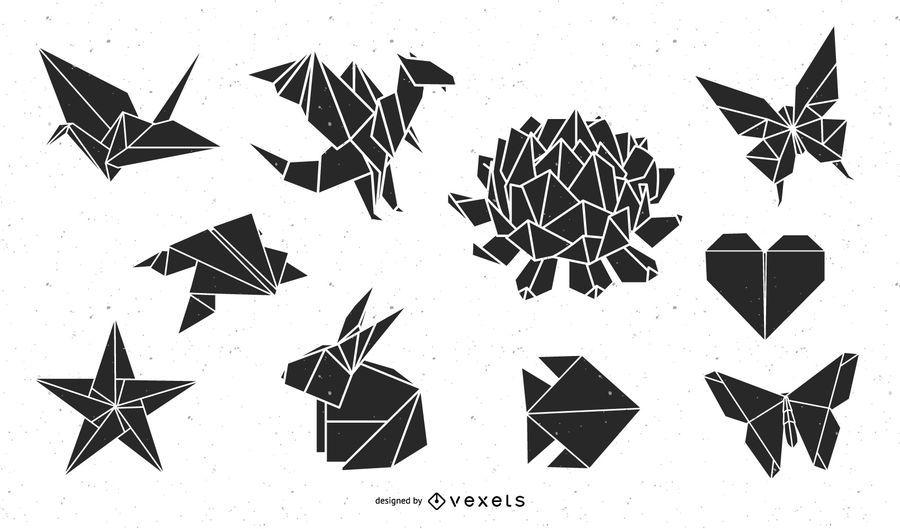 Paquete de silueta de animales y naturaleza de origami