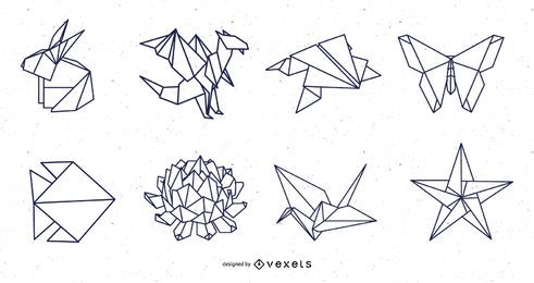 Origami Nature Elements Stroke Design Pack