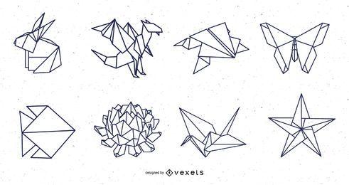 Pacote de design de traços de elementos da natureza de origami