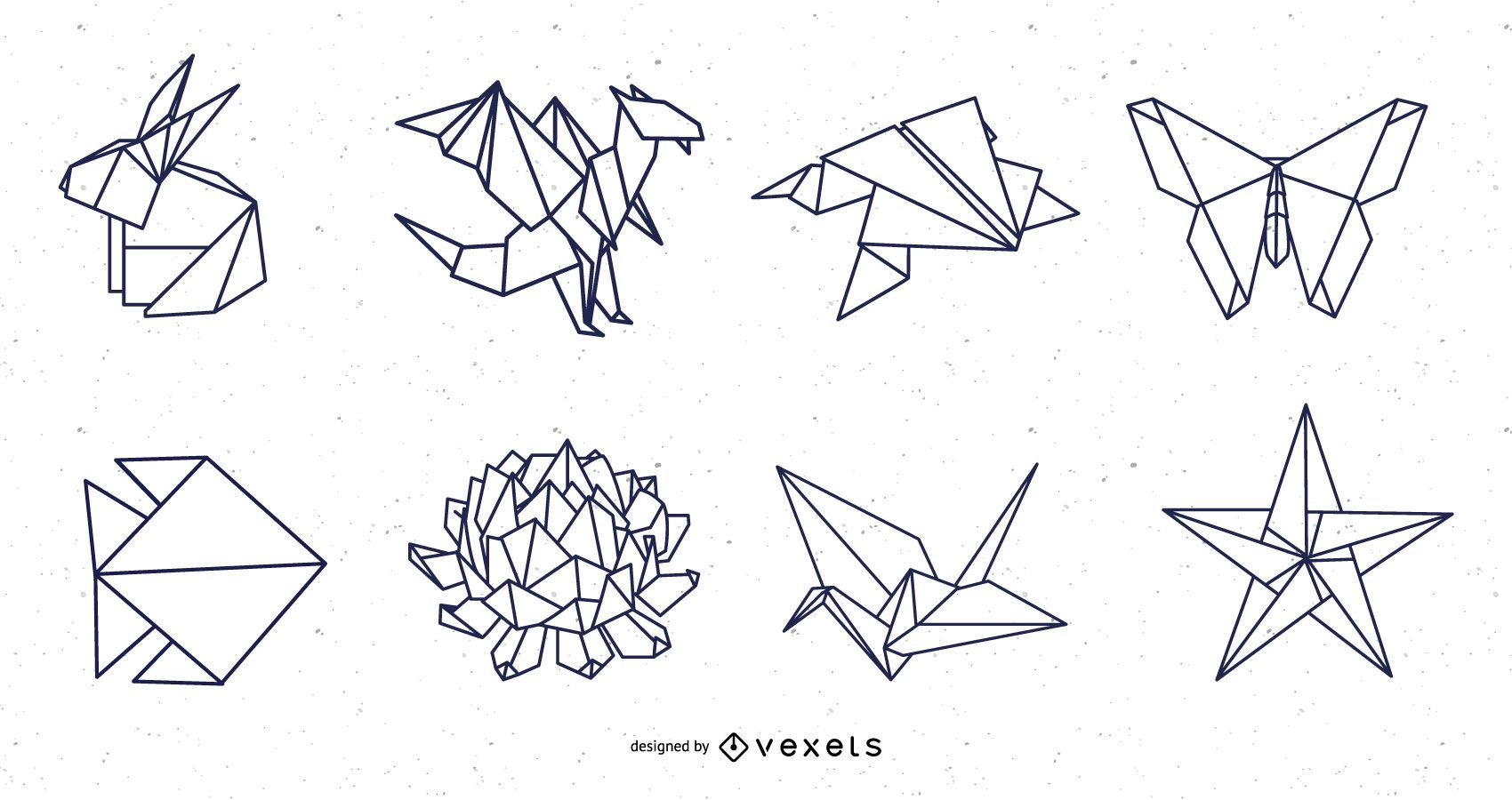 Origami Nature Elements Stroke Design Pack