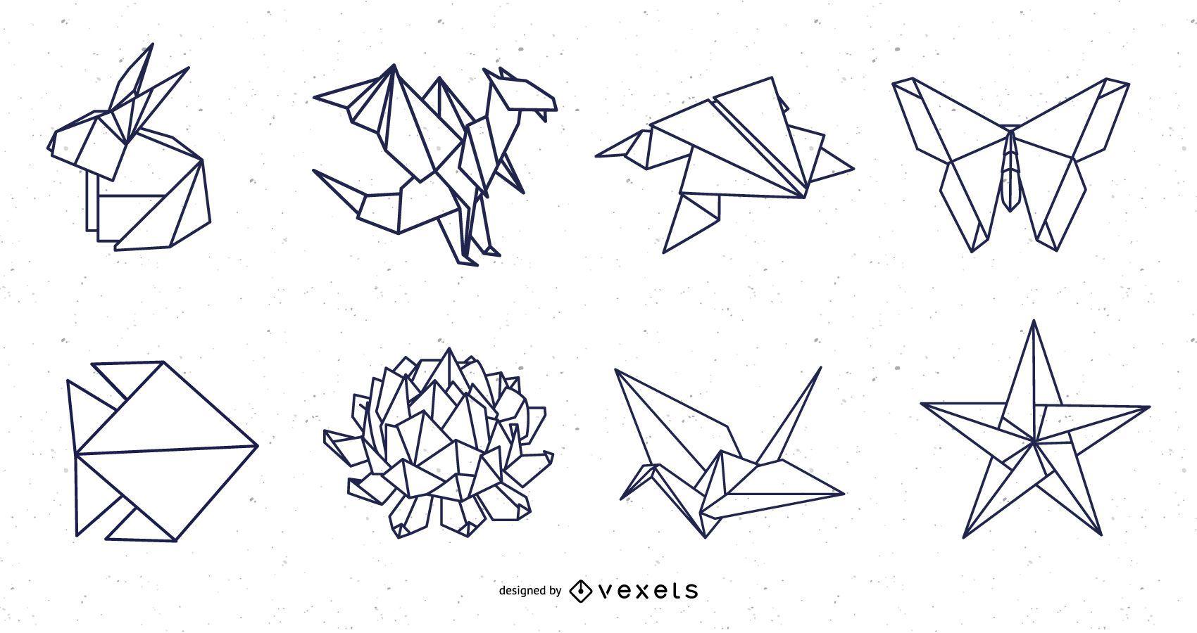 Pacote de design do curso Origami Nature Elements