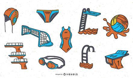 Pacote de ilustração de esportes aquáticos desenhada à mão