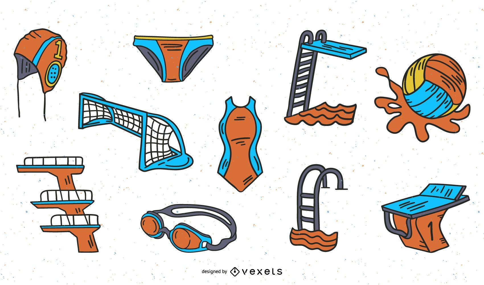 Hand Drawn Aquatic Sports Illustration Pack