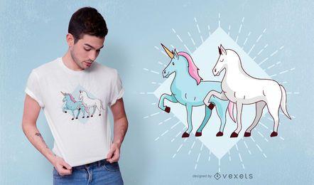 Diseño de camiseta de unicornio y caballo