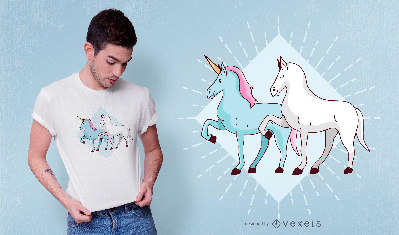 Unicorn and Horse T-shirt Design