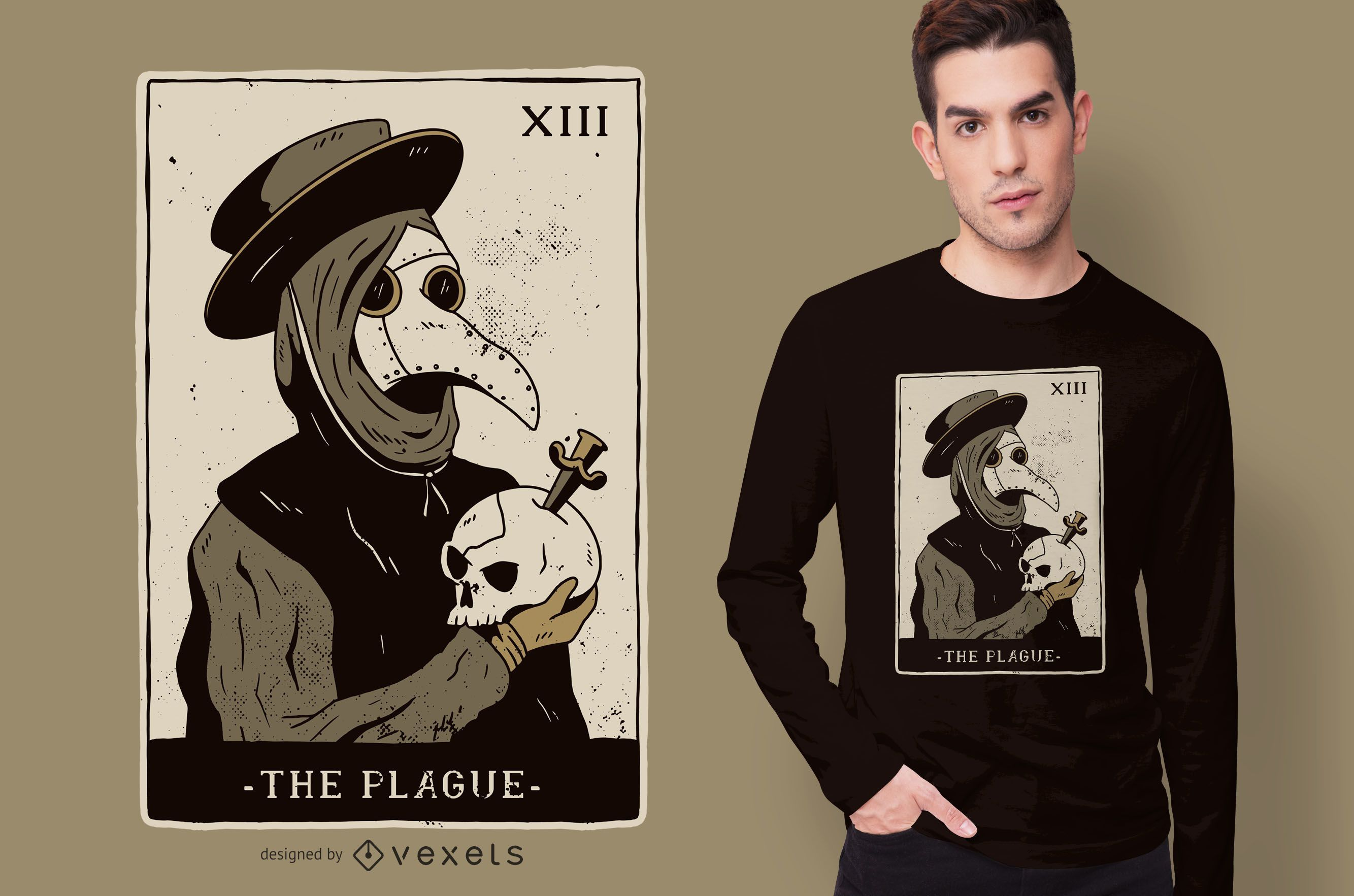Diseño de camiseta Plague Doctor Tarot
