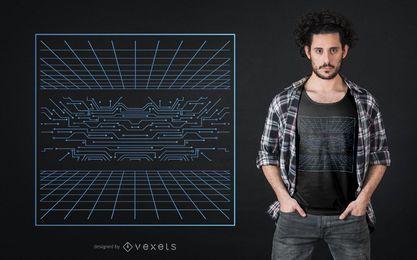 Diseño de camiseta de cuadrícula holográfica