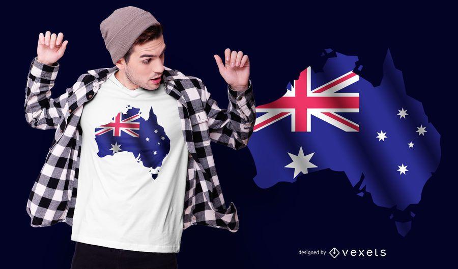 Design de t-shirt de bandeira da Austrália