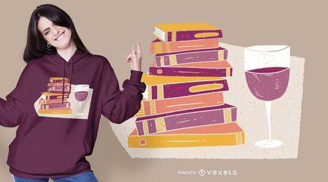 Diseño de camiseta de vino y libros.