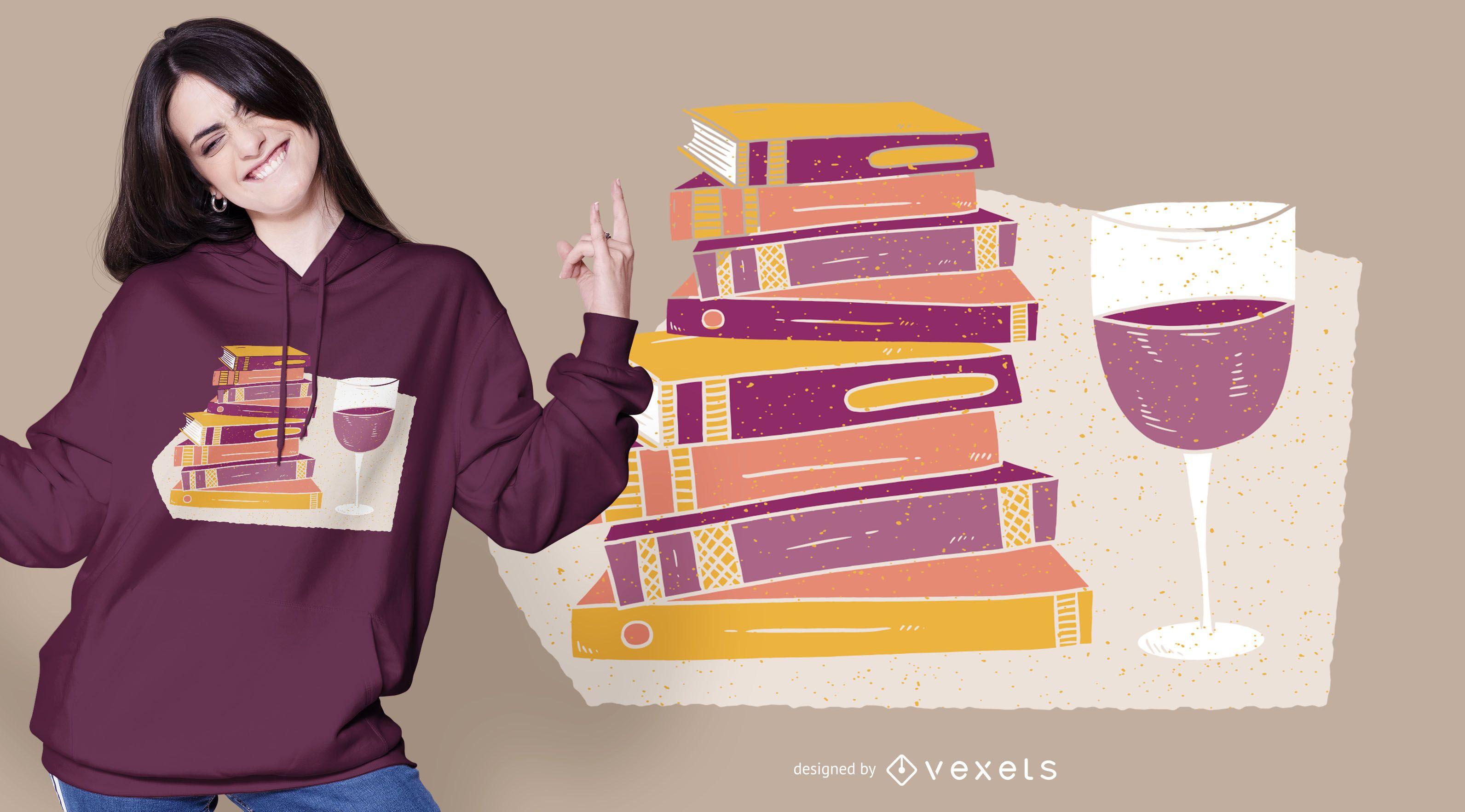 Design de camisetas de vinhos e livros