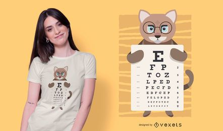 Design do t-shirt da carta de olho de gato