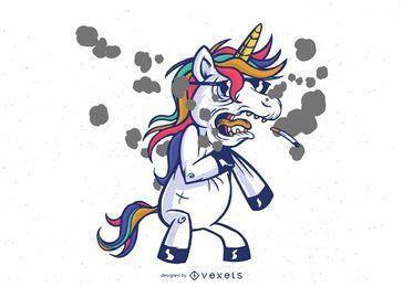 Rauchen Einhorn Charakter Design