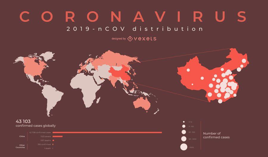 Diseño de mapa mundial de coronavirus