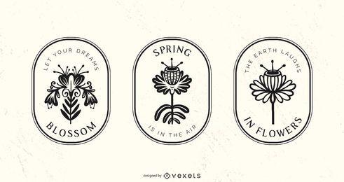 Conjunto de distintivo de flores ornamentais de primavera